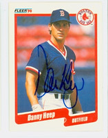 Danny Heep AUTOGRAPH 1990 Fleer Red Sox 