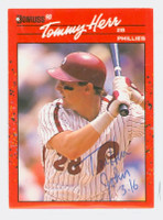 Tom Herr AUTOGRAPH 1990 Donruss Phillies 