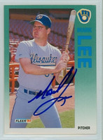 Mark Lee AUTOGRAPH 1992 Fleer Brewers 