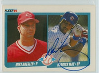 Derrick May AUTOGRAPH 1990 Fleer Cubs 