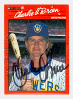 Charlie O'Brien AUTOGRAPH 1990 Donruss Brewers 