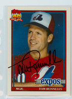 Tom Runnells AUTOGRAPH 1991 Topps Expos 