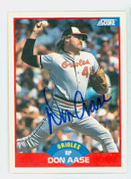 Don Aase AUTOGRAPH 1989 Score Orioles 