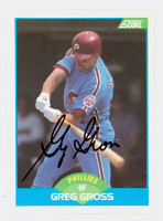 Greg Gross AUTOGRAPH 1989 Score Phillies 