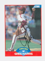 Greg Harris AUTOGRAPH 1989 Score Phillies 
