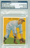Joe Cronin AUTOGRAPH d.84 33 Goudey Reprints Red Sox PSA/DNA 