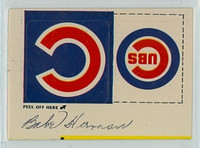 Babe Herman AUTOGRAPH d.87 Fleer Sticker Cubs Logo 