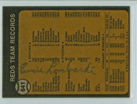 Ernie Lombardi AUTOGRAPH d.77 1973 Topps #641 Reds Team Card BACK SIGNED