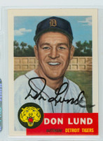Don Lund AUTOGRAPH d.13 Topps 1953 Archives Tigers   [SKU:LundD391_T53BBRP2]