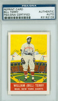 Bill Terry AUTOGRAPH d.89 Delong Reprints Giants PSA/DNA 