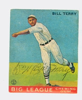 Bill Terry AUTOGRAPH d.89 HOF 1933 Goudey Reprint Giants Trim 