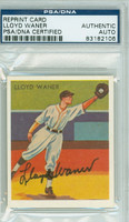Lloyd Waner AUTOGRAPH d.82 33 Goudey Reprints Pirates PSA/DNA 