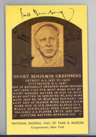 Hall Of Fame Plaque Gold Hank Greenberg AUTOGRAPH d.86 Tigers GAI COA 