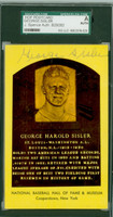 Hall Of Fame Plaque Gold George Sisler AUTOGRAPH d.73 St. Louis SGC/JSA 