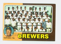 Del Crandall AUTOGRAPH 1975 Topps Mini #384 Brewers Team Card 