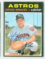 Johnny Edwards AUTOGRAPH 1971 Topps #44 Astros 