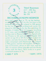 Richie Hebner AUTOGRAPH 1975 SSPC Pirates BACK SIGNED