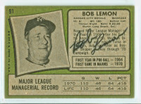 Bob Lemon AUTOGRAPH d.00 1971 Topps #91 Royals BACK SIGNED