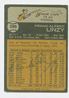 Frank Linzy AUTOGRAPH 1973 Topps #286 Brewers BACK SIGNED