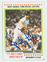 Sparky Lyle AUTOGRAPH 1978 Topps #2 Yankees Highlight CARD IS G/VG  [SKU:LyleS1147_T78BBNYjl]