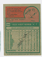 Fred Norman 1975 Topps #396 Reds Back Signed 