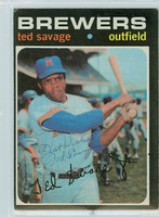 Ted Savage AUTOGRAPH 1971 Topps #76 Brewers 