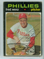 Fred Wenz AUTOGRAPH 1971 Topps #92 Phillies   [SKU:WenzF5590_T71BBpl]