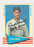 Lloyd Waner AUTOGRAPH d.82 1961 Fleer Baseball Greats 