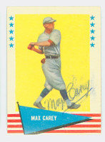 Max Carey AUTOGRAPH d.76 1961 Fleer Baseball Greats 