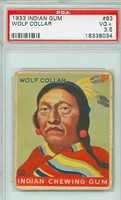 1933 Indian Gum 93 Wolf Collar PSA 3.5 Very Good Plus
