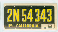 1953 License Plates 5 California Excellent