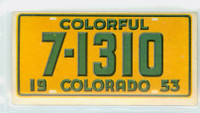 1953 License Plates 6 Colorado Excellent