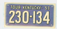1953 License Plates 25 Kentucky Good to Very Good