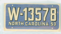 1953 License Plates 27 North Carolina Excellent to Mint