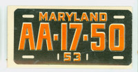 1953 License Plates 30 Maryland Very Good to Excellent
