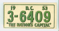 1953 License Plates 34 Dist. Of Columbia Very Good to Excellent
