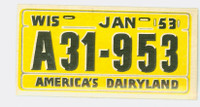 1953 License Plates 35 Wisconsin Very Good to Excellent