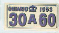 1953 License Plates 41 Ontario Province Very Good to Excellent