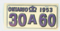 1953 License Plates 41 Ontario Province Excellent