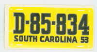 1953 License Plates 46 South Carolina Excellent