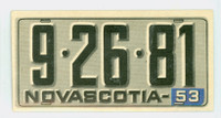 1953 License Plates 52 Nova Scotia Province Excellent to Mint
