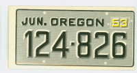 1953 License Plates 54 Oregon Very Good to Excellent