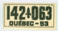 1953 License Plates 75 Quebec Province Good to Very Good
