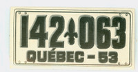 1953 License Plates 75 Quebec Province Excellent