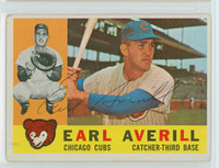 Earl Averill AUTOGRAPH d.15 1960 Topps #39 Cubs CARD IS G/VG; AUTO CLEAN