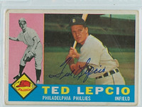 Ted Lepcio AUTOGRAPH d.19 1960 Topps #97 Phillies CARD IS G/VG; AUTO CLEAN  [SKU:LepcT264_T60BB]