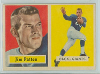 1957 Topps Football 83 Jim Patton ROOKIE New York Giants Excellent