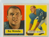 1957 Topps Football 122 Ray Wietecha New York Giants Excellent to Mint
