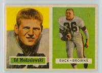 1957 Topps Football 127 Ed Modzelewski Cleveland Browns Excellent to Mint
