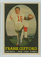 1958 Topps Football 73 Frank Gifford New York Giants Excellent to Excellent Plus